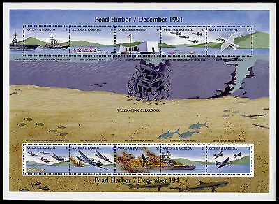 Antigua 1488 MNH Japanese Attack on Pearl Harbor, WWII, Ships Aircraft
