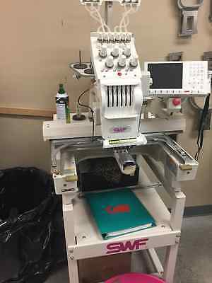 2007 SWF Embroidery Machine SWF/E-T601C Single Head 6-Needle. Comes with Hoops.