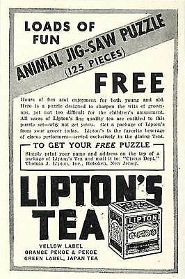 1936 Lipton Tea Ad Advertisement Animal Jigsaw Puzzle