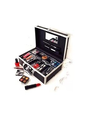 33 Piece Vanity Case - 30 Make Up Items Applicators & Brushes In A Case - New