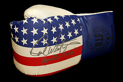 "* New* Carl Weathers ""Rocky"" Signed Stars and Stripes VIP Boxing Glove In Silver"