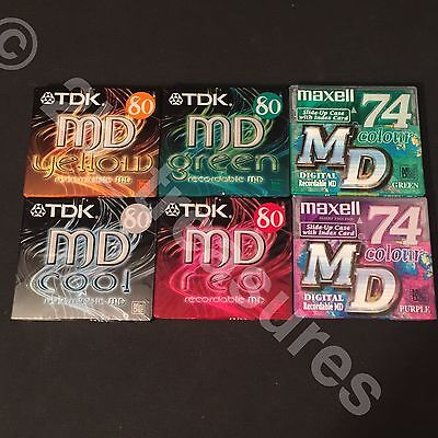 ✰  x6 Blank MINIDISC MAXELL MD 74 COLOUR TDK 80 Digital Recordable Discs SEALED