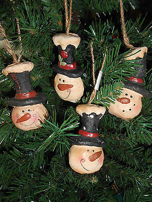 Crazy Mountain 4 Different Snowman Head Blustery Hugs Christmas Ornaments