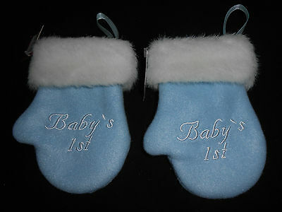 New Not Dated Babys First 1st Christmas Boy 2 Blue Mitten Christmas Ornaments