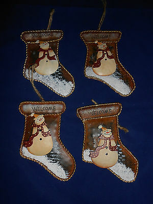 New Lot of 4 Tin Stocking Shaped Snowman Christmas Ornaments Welcome