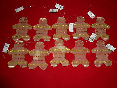 Lot of 10 Frosted Plastic Gingerbread Man Ornaments New