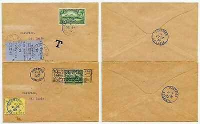 ST LUCIA POSTAGE DUES 1932 from JAMAICA 2d + from MONTSERRAT 2 x 1d