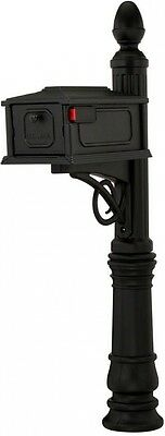 Black Stratford All-in-One Mailbox Post Combo Mail Box Heavy Duty Rust Resistant