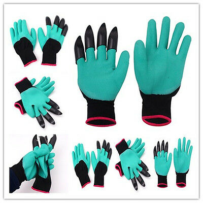 4 ABS Plastic Claws+ Rubber+Polyester BUILDERS GARDEN WORK LATEX GLOVES