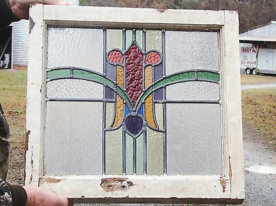 Vintage Old English Stained Glass Window with original wood frame