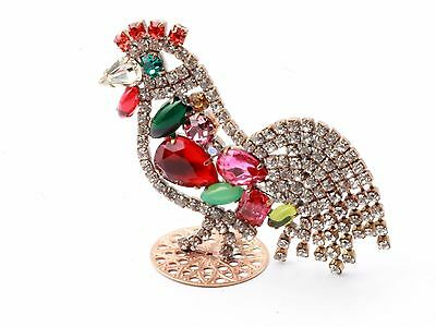 Free standing Czech rhinestone Easter Christmas rooster cock ornament decoration