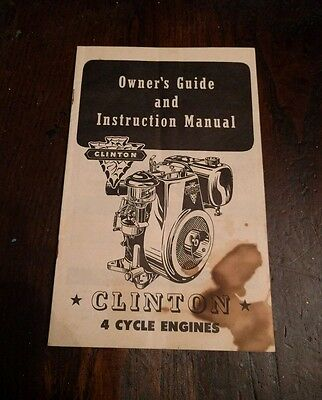 Vintage 1954 Clinton 4 Cycle Engine Owner's Guide And Instruction Manual