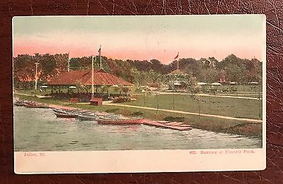Plainfield Illinois Electric Park Boating Postcard Il
