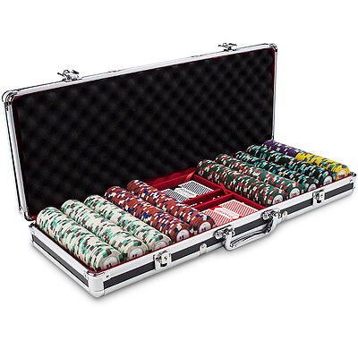 New 500 Poker Knights 13.5g Clay Poker Chips Set Black Aluminum Case Pick Chips!