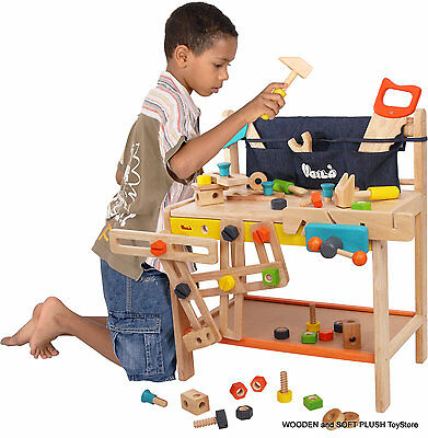 Voila Toy Children's GIFT Carpenters LARGE wooden WORKBENCH with PLAY TOOLS *NEW