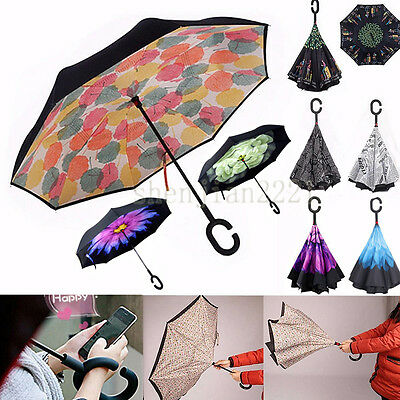C-Handle Reverse Windproof Double Layer Upside Down Inverted Umbrella Design