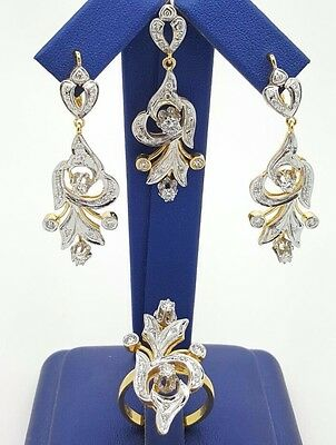 Russian Style 14K Yellow / White Gold Diamond Earrings Ring Pendant Jewelry Set