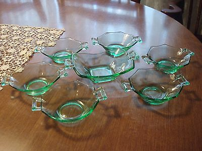 7 Pc Heisey Moongleam, Green, 2 Handled Octagon Nut Dishes 1 Large, 6 Small