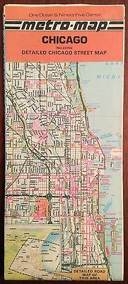Chicago Map from 1980 Metro-Map Detailed Chicago Street Map - Vintage