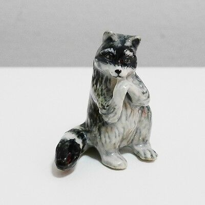 Grey Raccoon Animal Ceramic Figurine Miniature Home Decorate Collectible Gift 1