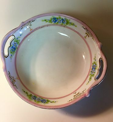 Rising Sun Nippon Hand Painted Japan Bowl w/ Handles Green White Cream Pink 5""