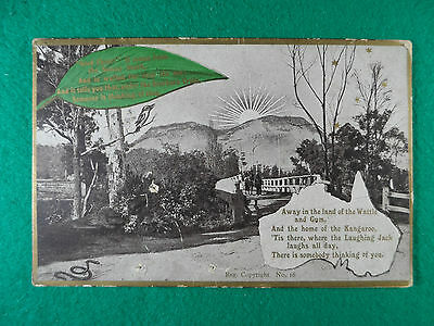 EARLY 1900's POSTCARD AUSTRALIAN 'IN THE LAND OF WATTLE AND GUM'