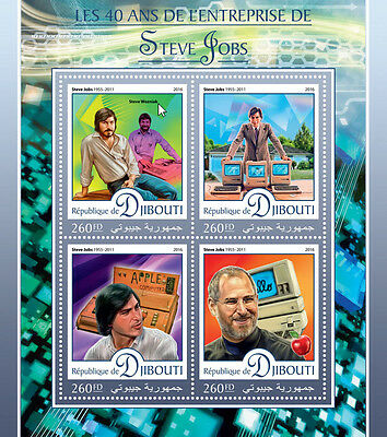 Djibouti 2016 MNH Steve Jobs 4v M/S Apple Computing Computers Stamps