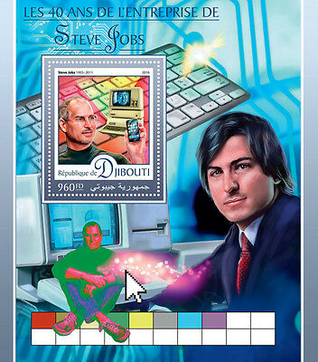 Djibouti 2016 MNH Steve Jobs 1v S/S Apple Computing Computers Stamps
