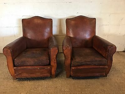 Rare, Antique, Rustic, Vintage, French, Leather, Club Chair, Industrial X2