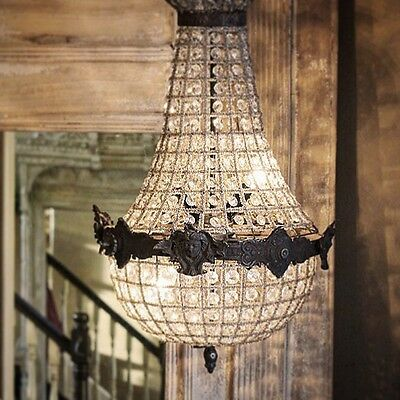 Antique, French Chandelier, Vintage, Industrial, 65cm Tall