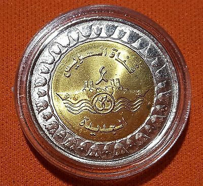 New Egypt One Pound Coin  Of *the New Suez Canal* Unc Capsuled/ No Longer Minted