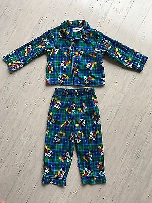 Disney Mickey Mouse boy's blue printed flannelette pyjama set, size 24 months