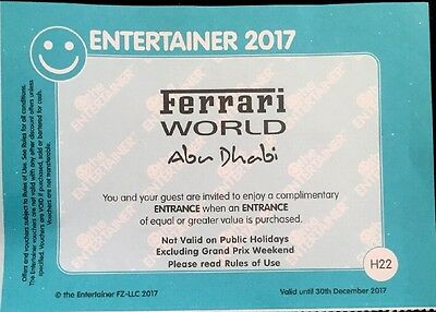 ** Ferrari World BOGOF - Entertainer Abu Dhabi / Dubai 2017 Voucher