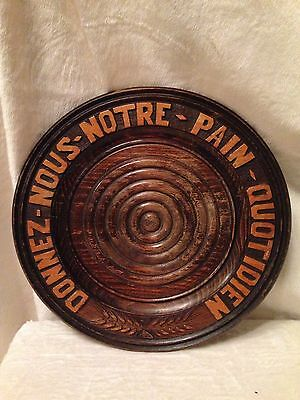 """Vintage FRENCH Wood Carved Bread Board Bread Tray Signed - 12.5"""" Diameter"""
