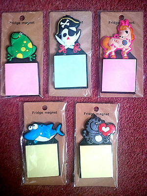 FRIDGE MAGNET & STICKY POST-IT PAD Choice: Cat, Frog, Dolphin, Pony NEW FREE P&P
