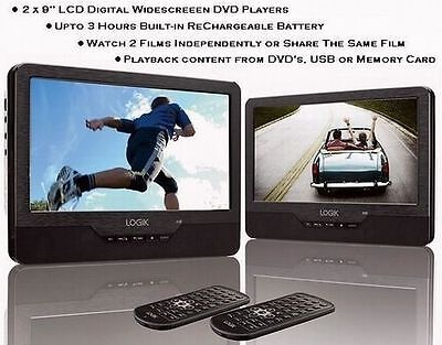 "Logik 9"" Twin Screen In-Car & Portable, DVD Player+USB+SD Card Slot"