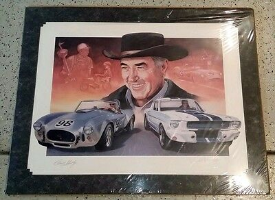 RARE CARROLL SHELBY SIGNED FORD MUSTANG GT 350  COBRA COA LITHOGRAPH 65 of 100