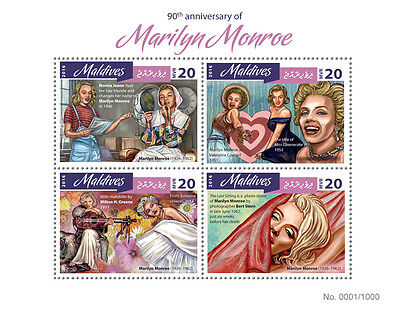 Maldives 2016 MNH Marilyn Monroe 90th 4v M/S Film Movie Stars Celebrities Stamps