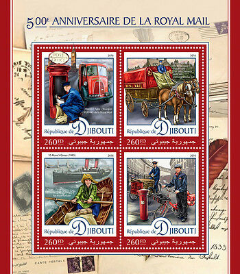 Djibouti 2016 MNH Royal Mail 500th Anniv 4v M/S Ships Horses Pillar Boxes Stamps