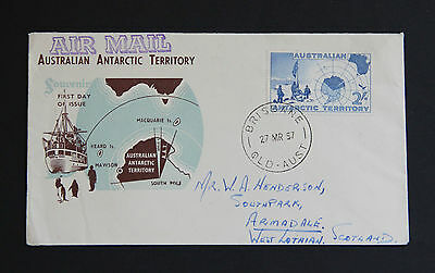 Antarctica 1957 AAT 2/- map Illustrated Cachet FDC First Day Cover