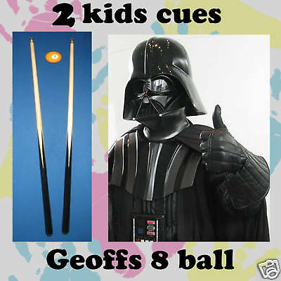 """PAIR of Black 36 """" 1 Piece KIDS or Short Pool Cues amazing value for $$$"""