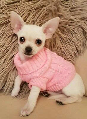 Chihuahua Size XXS Pink Knitted Jumper Pet Dog Clothes XXS Knitted Sweater