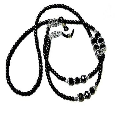 Reading Eye glasses lanyard chain black pearl and crystal