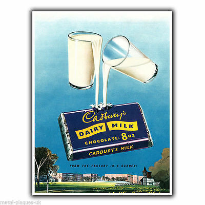 CADBURY DAIRY MILK Vintage Retro Advert METAL WALL SIGN PLAQUE poster print