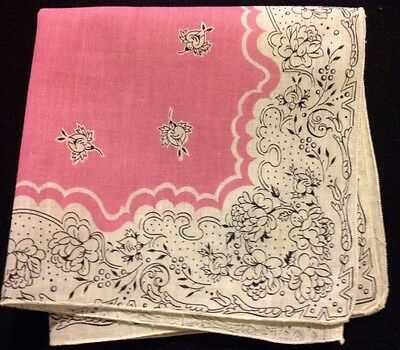 Lovely Vintage Handkerchief Printed Floral Pattern Pink Background