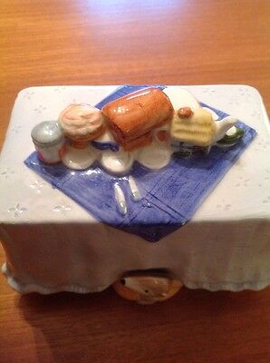 vintage butter dish with lid picnic scene: mole teapot maralade jam