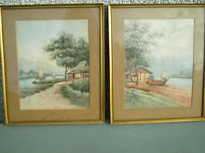 Rare Pair Of Japanese Watercolour Painting River And Boats. Both Signed