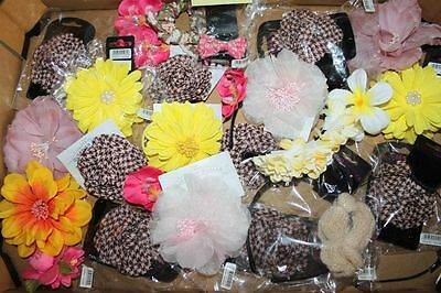 Beautiful Job Lot 25 New With Tags Stock Hair Accessories Flowers Bands Clips