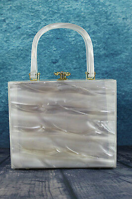 Vintage 1960s Pearly Heavy Quality Lucite Metal Ring Clasp Box Bag Handbag