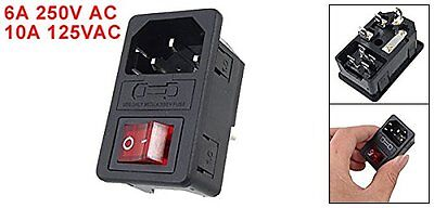 URBEST®IEC 320 C14 Red Light Rocker Inlet Male Power Supply Connector Plug